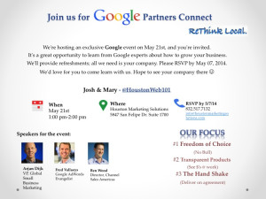 Join us for our Google Partners Event in Houston TX